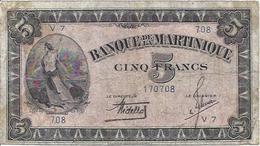 MARTINIQUE P16b 5 FRANCS 1942 F / VF - Billetes