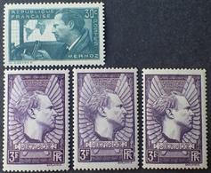 R1692/459 - 1937 - MERMOZ - N°337 + N°338 (x3) NEUFS** - DIFFERENTES NUANCES - Frankreich