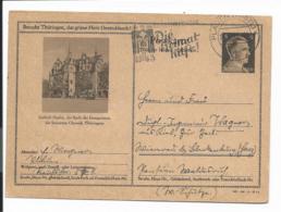 DR P 307 42-16-B12 - 6 Pf Hitler BiPo: Saalfeld M. Werbestpl. Plauen N. Blankenburg Bedarfsverwendet - Germania