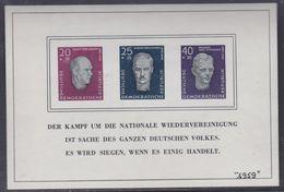 Allemagne Orientale BF 9 XX Hommage Aus Leaders Socialistes De 1957, Le Bloc Sans Ch.,date Au Stylo Au Recto, TB - Blocchi