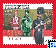 India Stamps 2018, 3rd Battalion The Rajputana Rifles, Military, War, MNH - Other