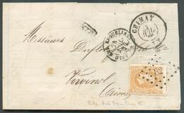 N°30 - 30 Centimes Ocre-brun Obl. LP.82 Sur Lettre De CHIMAY (manque 1 Rabat) Du 25 Juillet 1872 Vers Vervins (FR) - Ver - 1869-1883 Léopold II