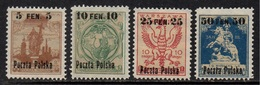 POLOGNE - POLSKA / 1918 SERIE COMPLETE # 1A à 4 * / COTE 15.00 EUROS  (ref 2316c) - Unused Stamps