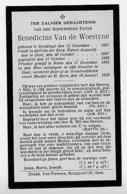 Sleidinge Gent Evergem PATER Benedictus Van De Woestyne 1928 - Oude Documenten