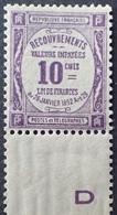 R1692/467 - 1908 - TIMBRE TAXE - LUXE - N°44b NEUF** BdF Papier GC - Taxes