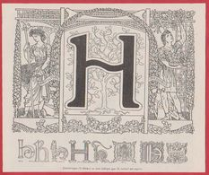 Lettre H Illustrée. Style Art Nouveau. Allégorie Représentant L'agriculture Et Le Jardinage. Larousse 1931. - Documenti Storici