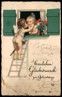 ALTE POSTKARTE ENGEL ANGEL ANGE AMOR AMOURS PFEIL UND BOGEN LIEBESPFEIL KUSS Kiss Baiser Nude Fensterln Postcard Cpa AK - Angeli