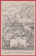 Hauteur Comparé Des Montagnes Et De Divers Monuments. Larousse 1931. - Documenti Storici