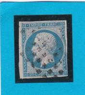 N° 14 A  + ROULETTE DE GROS POINTS CARRES (roulette D'annulation) - REF 11153 - 1853-1860 Napoléon III
