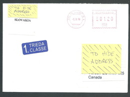 118-51 SLOVAKIA 2016 Cover To Canada 1st Class Label Meter Stamp - Slowakische Republik