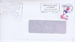LOIRE-ATLANTIQUE - Flamme Illustrée à Gauche NANTES R.P. Du 21 - 1  1987 - Festival Du Livre - Marcophilie (Lettres)