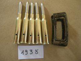 5 Cartouches Cal  6,5X54R Mannlicher Pays Bas 1938 (neutralisées) Avec Son Clip - Equipement