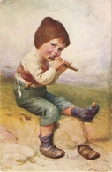 """Little Boy Playing Flute"" Fine Painting, Nice Vintage German Postcard - Niños"
