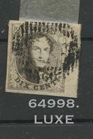 6 Oblitéré. Belles Marges Et Bord De Feuille.   LUXE - 1851-1857 Medallions (6/8)