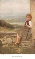 """Joh. Friedr. Engel. Girl. An Der Aussicht"" Fine Painting, Nice Vintage German Postcard - Niños"