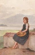 """""""Joh. Friedr. Engel. Girl. On The Wall"""" Fine Painting, Nice Vintage German Postcard - Niños"""