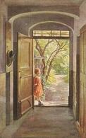 """""""Otto Kubel. Girl. Sunday Morning,llll,,,,,,,,,,,,,,,llllllll Lll,,,,,,,,,,"""" Fine Painting, Nice Vintage German Postcard - Niños"""