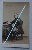 Photo CDV Circa 1865 Officier Armée Belge ABL  Photographe DUCHATEL Tournai Belgische Leger Militaria - Photos