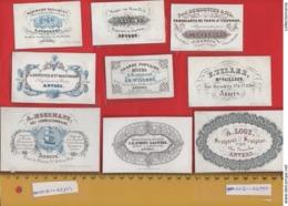 Lot85A : 9 ViSiT Cards, Printer RATiNCKX In ANVERS Antwerpen Porceleinkaarten Circa 1840 à1860 Hand Press Litho - Cartes De Visite