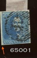 2 Oblitéré Cote 90,-euros. Curio La Marge De Gauche N'est Pas Imprimée - 1849 Hombreras