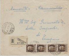 Terranova Pausania. 1934. Annullo Frazionario (58 - 97) Su Manoscritti R Affrancati Da Striscia C. 30 Imperiale - Marcofilía