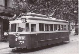 Nº 4013 POSTAL DE TRANVIA DE BARCELONA COCHE 707 EN CALLE MALLORCA (TREN-TRAIN-ZUG) AMICS DEL FERROCARRIL - Tram