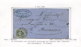 REF51/ TP 30 S/LAC  Entête G.Antheunis - Belmeire Négociant C.Gand (Station) 2 Juil.1881 > BXL C.d'arrivée - 1869-1883 Leopold II