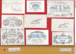 Lot85B : 9 ViSiT Cards, Printer: All  RATiNCKX In ANVERS Antwerpen Porceleinkaarten Circa 1840 à1860 Hand Press Litho - Cartes De Visite