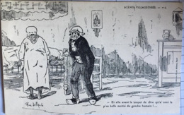"""CPA, Illustrateur René Billaud (17,Charentes Maritimes, Scènes Villageoises, N° 5,"""" Et Elle Avant Le Toupet De Dire... - Autres Illustrateurs"""