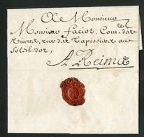 """1695 ARDENNES Lettre Datée De Charleville Le 14/08/1695 Et Adressée à Reims. Avec La Taxe Manuscrite """"2"""" - ....-1700: Vorläufer"""
