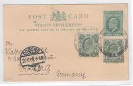 Penang 1908 , Ganzsache Nach Deutschland - Penang