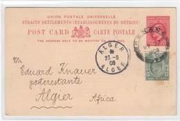 Penang 1908 , Ganzsache Nach Algerien - Penang