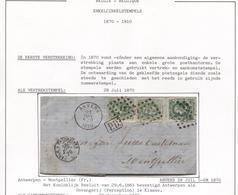 REF52/ TP 30(3)  S/LAC C.Anvers 28/Juil/1870 LOS 12 Gff PD Ambt Belg.Erquelinnes 28/7/1870 > Montpellier C.d'arrivée - Oblitérations à Points