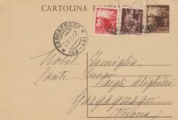 Gargagnago. 1923.  Annullo Frazionario ( 68 - 43) Su Cartolina Postale Democratica Integrata Con Valori Di L. 2 + L. 3 - 1946-60: Marcophilie