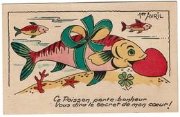 Carte Illustrée - 1er Avril / Poisson D'Avril -  - 2 Scans - 1° Aprile (pesce Di Aprile)