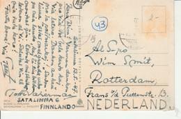 1947 Finland Card Of Nyslott? To Nederland Message In Esperanto Stamps Removed - Esperanto