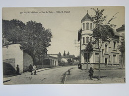 Cpa, Trés Belle Vue Animée, COURS, Rue De Thisy, Villa H. POIZAT - Cours-la-Ville