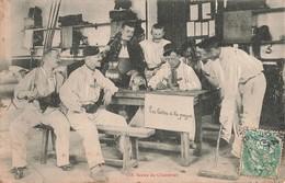 Militaire Scène De Chambrée La Lettre à La Payse Soldats Militaires Cachet 1907 - Personnages