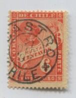 CHILE 1897 COLON COLUMBUS TAX STAMP WITH CANCEL CASTRO # 71722  111019 - Chili