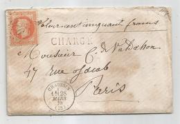 - JURA - CHAUSSIN - GC.986 S/TP Napoleon Lauré N°31 - CHARGE - Càd T.15 Càd T16-1870 - 1863-1870 Napoleon III With Laurels
