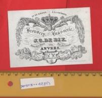 Lot85E: BROUWERIJ In De Kroon ,  Printer RATiNCKX In ANVERS Antwerpen Porceleinkaart Circa 1840 à 1860 Hand Press Litho - Cartes De Visite