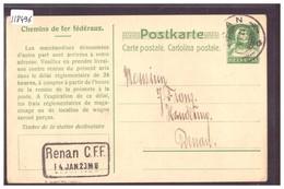 SBB - CFF - CHEMIN DE FER FEDERAUX - ENTIER POSTAL - GANZSACHE - TB - Svizzera