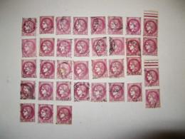 LOT DE 35 TIMBRES OBLITERES TYPE CERES A 3F LILAS ROSE N°376 YT - 1945-47 Ceres De Mazelin