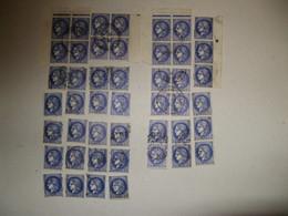 LOT DE 46 TIMBRES OBLITERES TYPE CERES A 2.50 F BLEU N°375A EN BLOCS DE 4 - 2 OU SEULS - 1945-47 Ceres De Mazelin