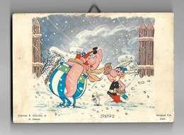 Asterix Et Obelix Dans La Neige - Illustration Collée Sur Bois - Andere Stripverhalen