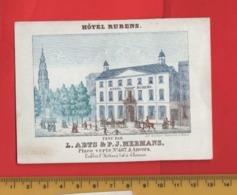 Lot85G : Hotel Rubens, ABTS & MERMANS, Printer RATiNCKX In ANVERS Antwerpen Porceleinkaart Circa1850 Hand Press Litho - Cartes De Visite