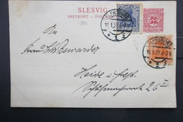 Slesvig: 1921 Uprated Postal Card To (?) (#WV7) - Schleswig-Holstein