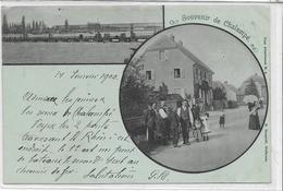 68 CHALAMPE . Souvenir , Rue Très Animée , édit : H Gangloff Mulhouse , écrite En 1900 , état Extra - Chalampé