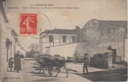 CPA Etaules - Route Conduisant Aux Marais Et Traversant Le Maine Simon (belle Animation Avec Boeufs) - France