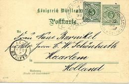 Entier Postal Vers Pays Bas 1898 - Wurtemberg